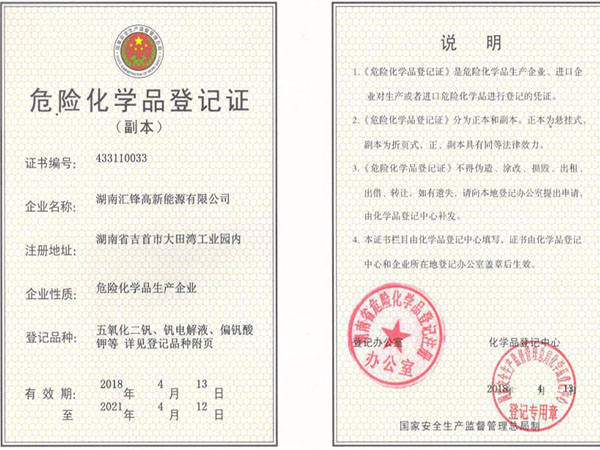 Certificate of registration of dangerous chemicals
